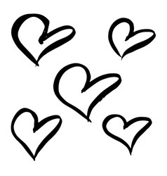 hand drawn hearts set brush hearts isolated on vector image