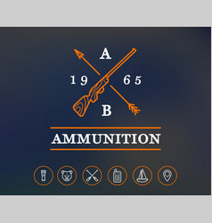 hunting or camping sign with icons ammunition vector image