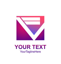 initial letter fv logo template colorfull square vector image