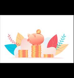 large piggy bank stands on stack huge coins vector image