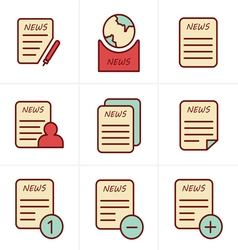 Line Icons Style Newspaper icons set vector image