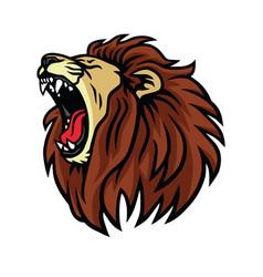 Lion roaring logo design vector