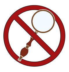 Magnifier in prohibition sign ban on research vector