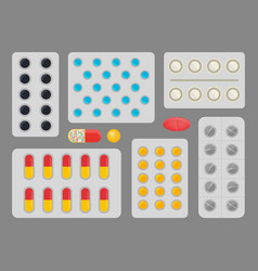 medicine capsules blister set vector image