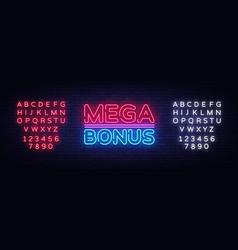 mega bonus neon sign bonus neon text vector image