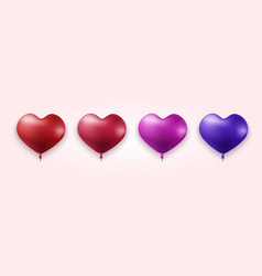 modern colorful heart balloons set vector image