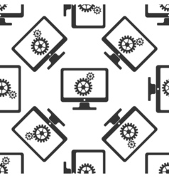 Monitor and gears icon seamless pattern on white vector