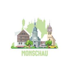 Monschau city skyline germany city landscape vector
