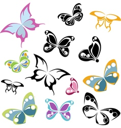 multi-colored silhouettes of butterflies vector image