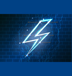 neon sign of lightning signboard on the blue vector image