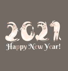 new year concept 2021 chinese horoscope of vector image