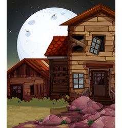 old wooden house at night time vector image