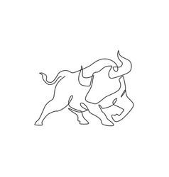 One single line drawing elegance buffalo vector