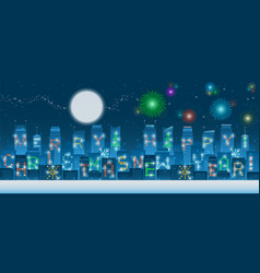 panoramic christmas and new year alpahbets on vector image
