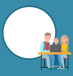 Parents and son sitting in front of open laptop vector
