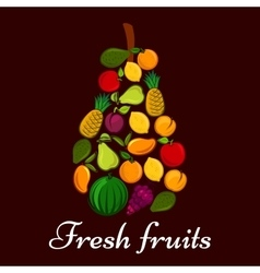 Pear symbol made up of fresh fruits vector image