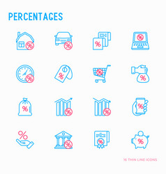 Percentages thin line icon set vector