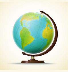 Realistic school globe geographical world map vector