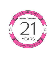Realistic twenty one years anniversary celebration vector