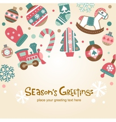 Retro Christmas card with cute ornaments vector