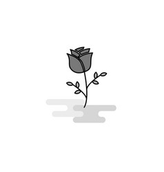 rose web icon flat line filled gray icon vector image