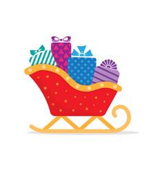 Santa sleigh with piles presents vector