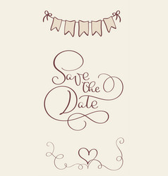 Save the date vintage text for wedding day vector