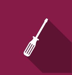 Screwdriver flat icon with long shadow vector
