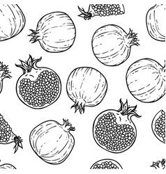 seamless pattern black and white pomegranates vector image