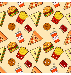 Seamless pattern funny cute fast food kawaii with vector