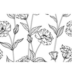 seamless pattern lisianthus flower and leaf hand vector image
