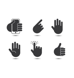 set of black and white hand icons vector image