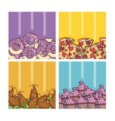 set of delicious food vector image