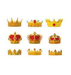 set of gold crown icon with different size and vector image
