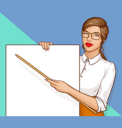sexy business woman or teacher with brown hair vector image