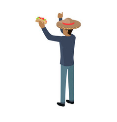 Shop seller in big sombrero hat isolated with food vector