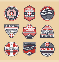 Sky patrol isolated label set vector