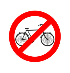 Stop cyclist bicycle on red ring road sign ban vector