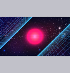 Synthwave sun background 80s retro future pink vector