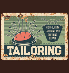 Tailor shop metal plate rusty sewing clothes vector