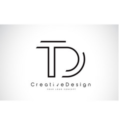 Td t d letter logo design in black colors vector