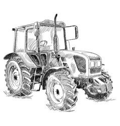 Tractor on big wheels vector