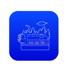 Train in night rides through forest concept vector