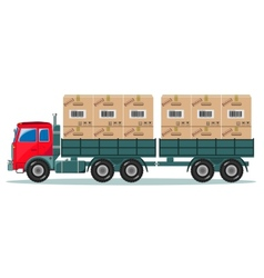 Truck With Cargo Boxes on Trailer vector image