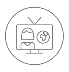 TV report line icon vector
