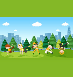 urban boy street dance in the park vector image