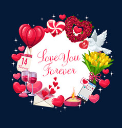 valentines day hearts flowers and love letter vector image