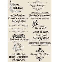 Vintage Christmas and New Year headers vector image