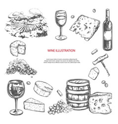 Wine set hand drawn elements including vector