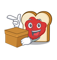 with box bread with jam character cartoon vector image